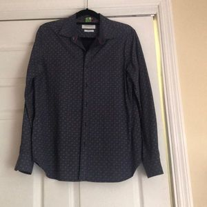 Blue patterned button down